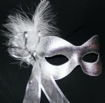 Silver ribboned feather masquerade mask